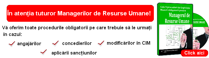 Proceduri speciala penrtu Managerul de Resurse Umane