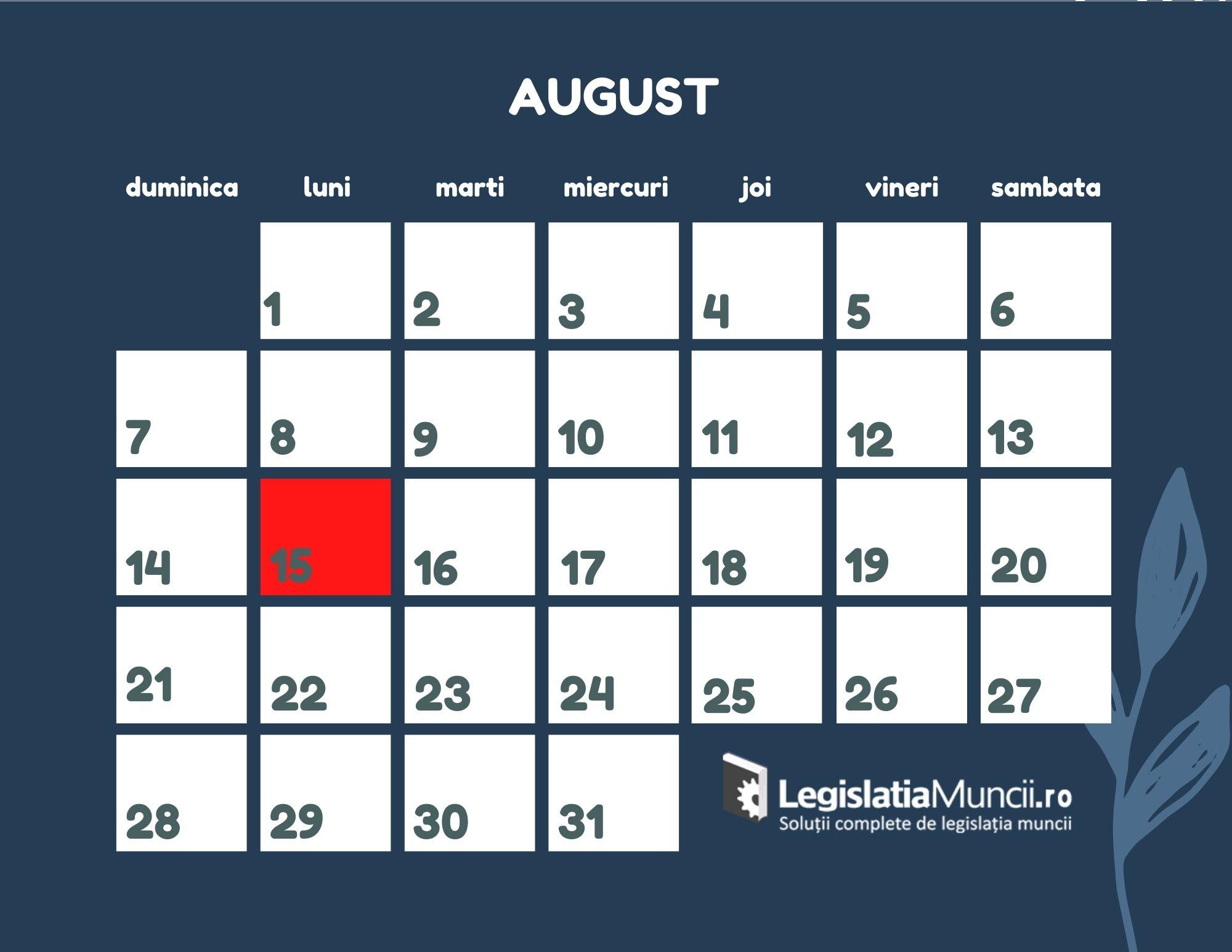 Libere legale August 2022