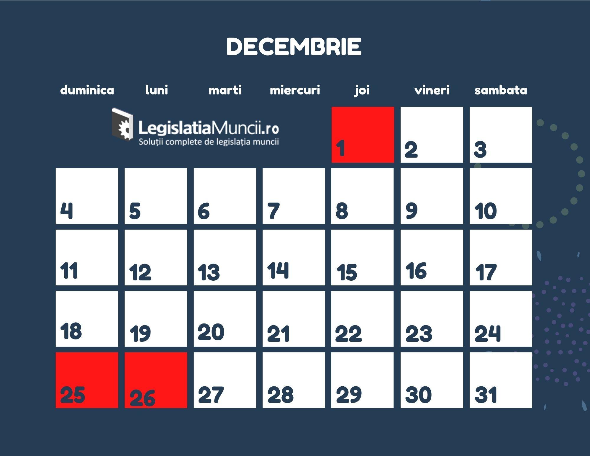 Sarbatori legale Decembrie 2022