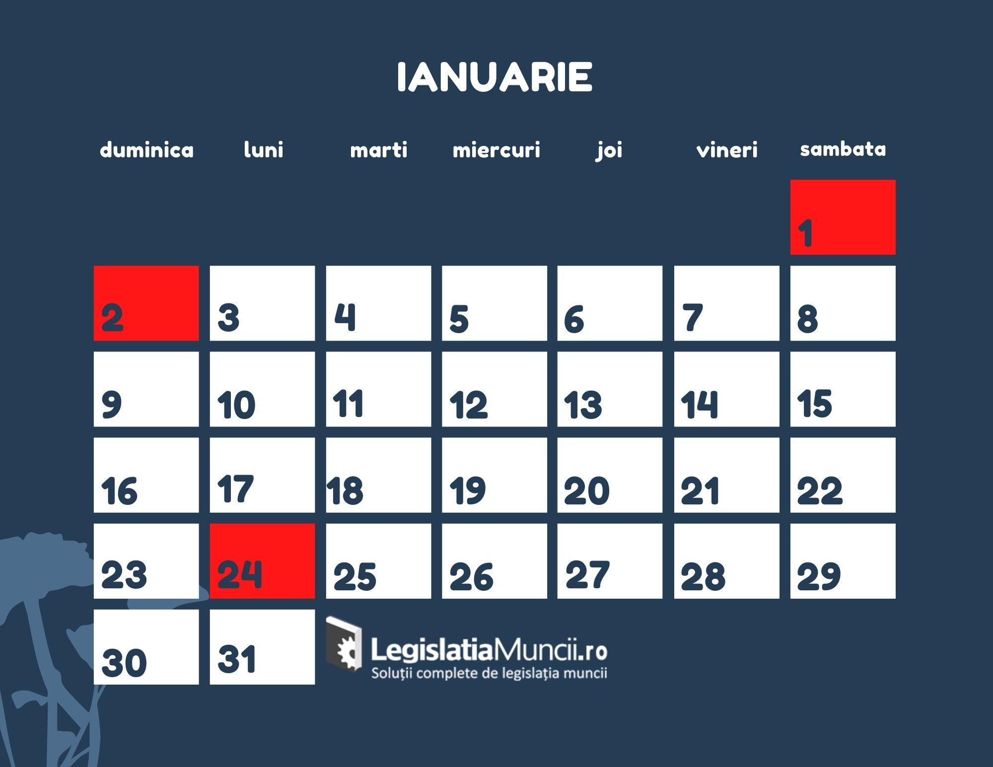 Calenzar zile libere Ianuarie 2022
