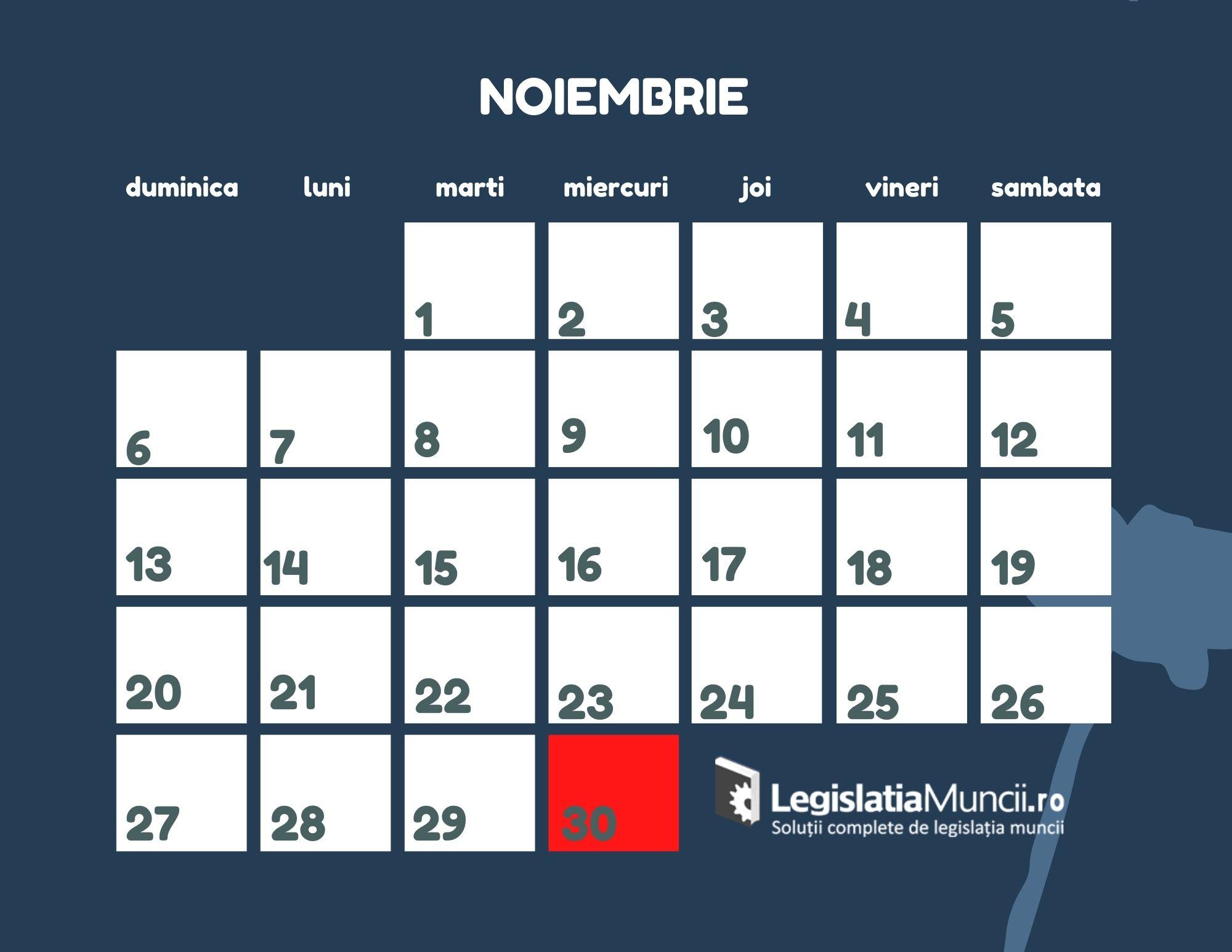 Zile libere Noiembrie 2022